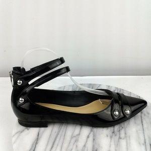 Marc Fisher Alie Size 7 Black Ankle Strap Flats